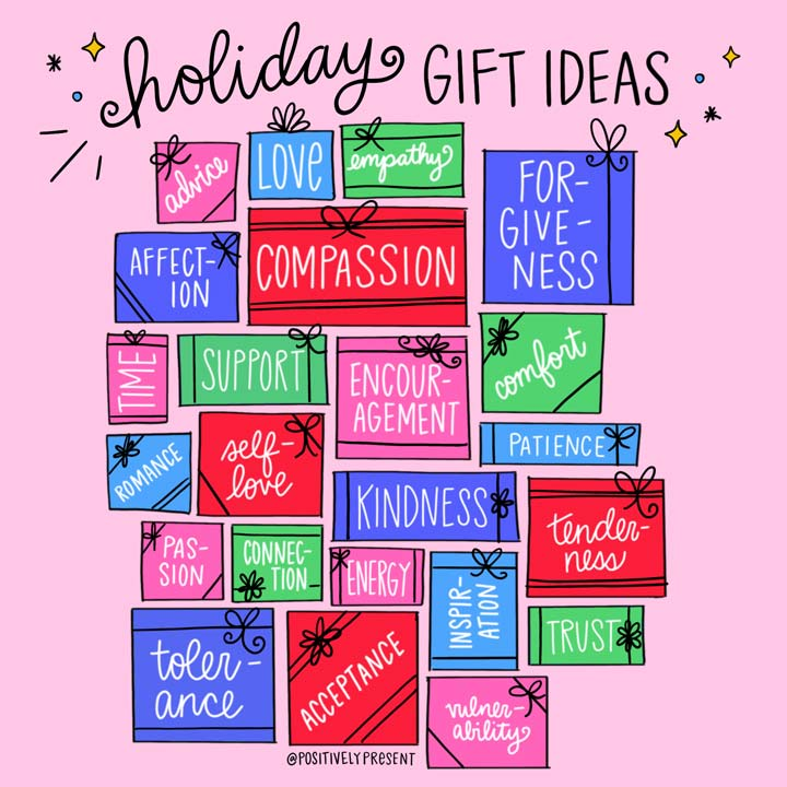 picture quote shows holiday gift ideas on presents.