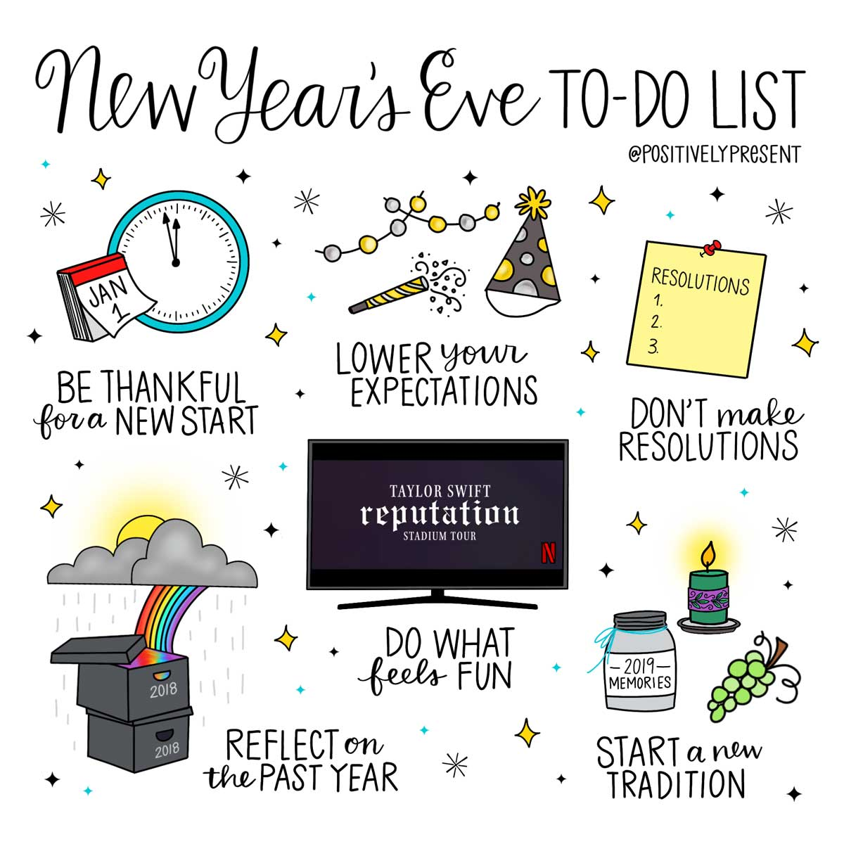 News Year's Eve to-do list illustration.