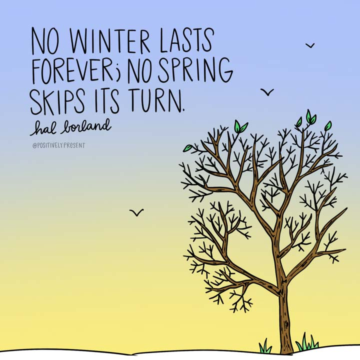 No winter lasts forever no spring skips its turn quote on drawing.