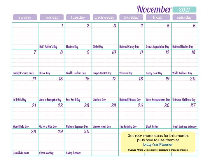 November 2021 marketing calendar