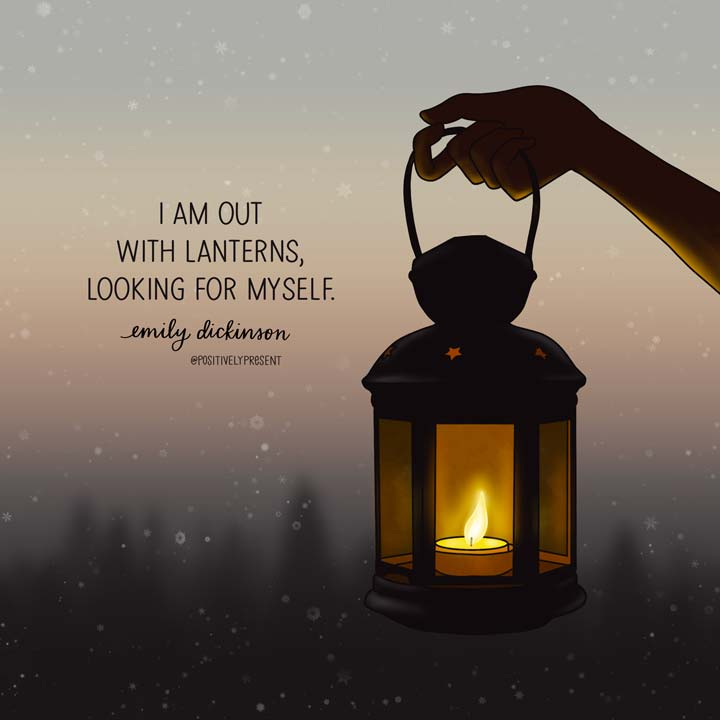 drawing of lantern in snowstorm with dickinson quote.
