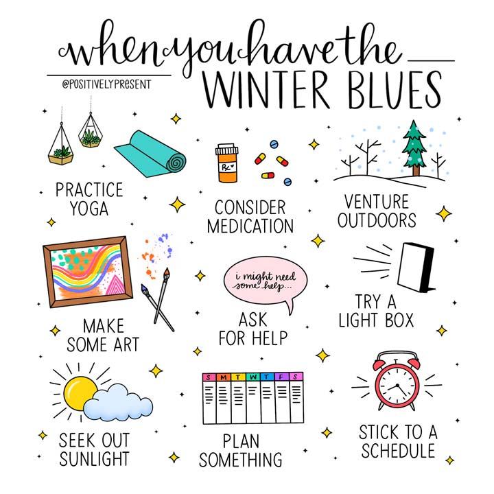 winter blues remedies illustrations.