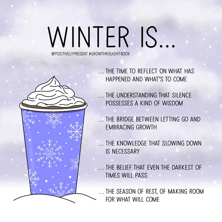 winter is quotes with coffee in snow.