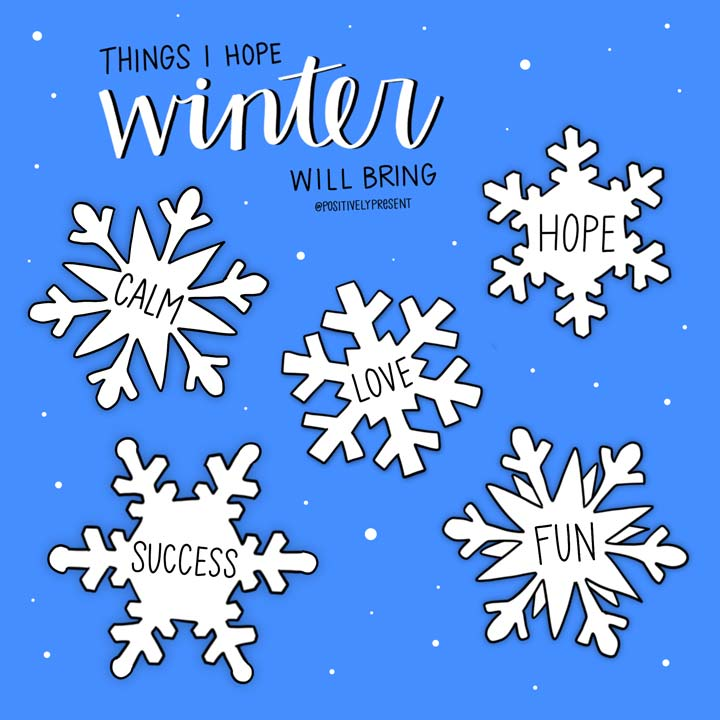 winter wisher on snowflakes with blue background.