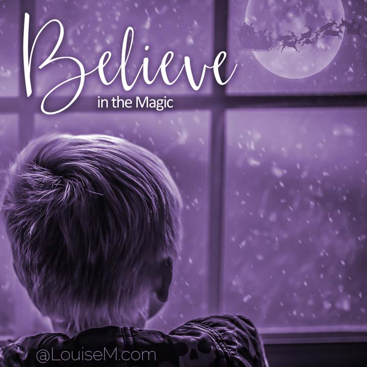picture quote says believe in magic.