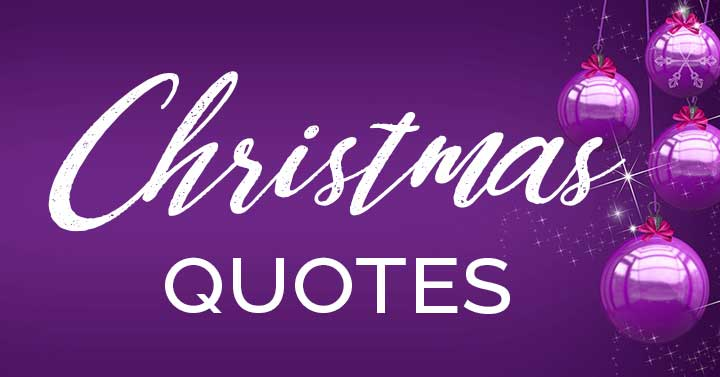 Christmas quotes text on purple ornaments.