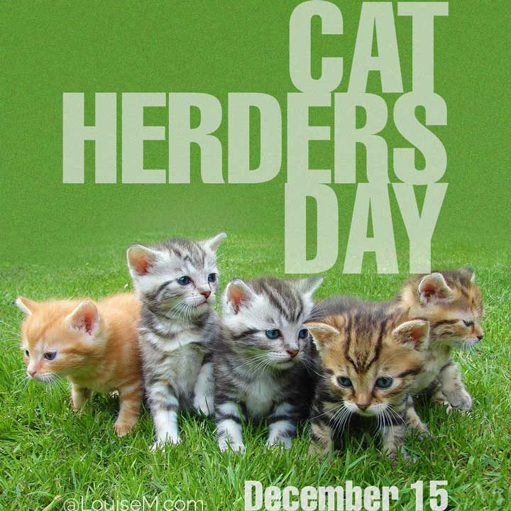 december 15 holiday cat herders day on photo of adorable kittens.