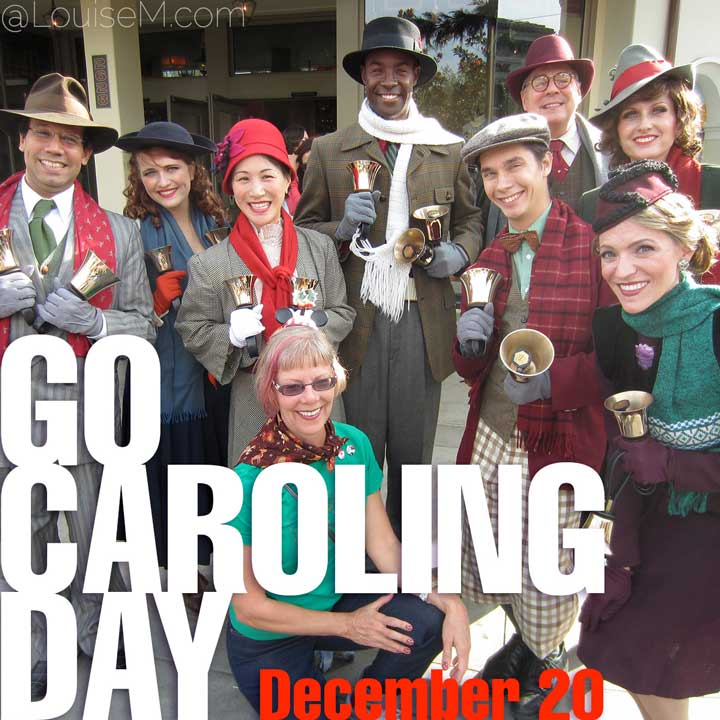 december 20 holiday go caroling day on photo of carolers surrounding me.