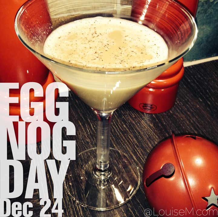 december 24 holiday egg nog day text on photo of eggnog with red bells.