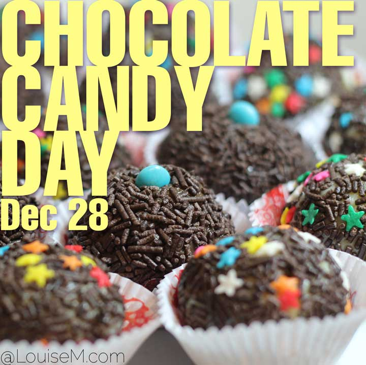 december 28 holiday chocolate candy day text on photo.