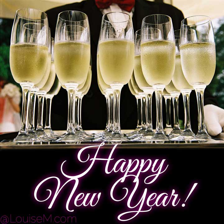 happy new year script on photo of champagne served by butler.