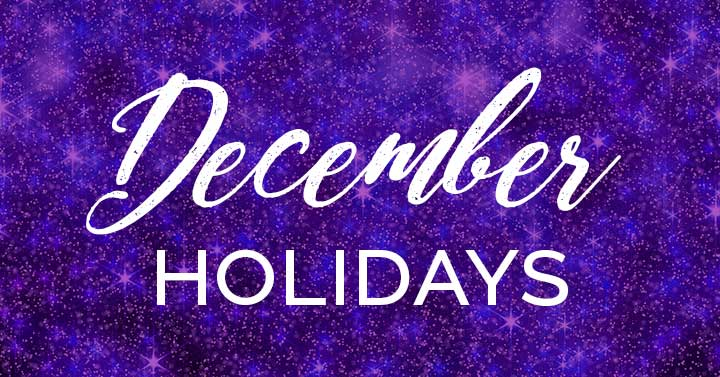 december holidays text on purple sparkly banner.