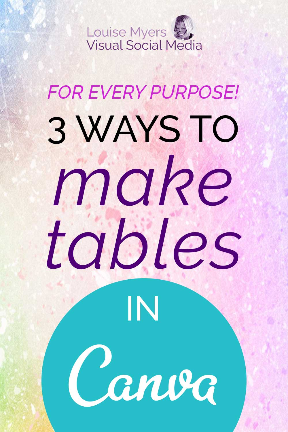 3 ways to make tables in canva text on pastel watercolor background.