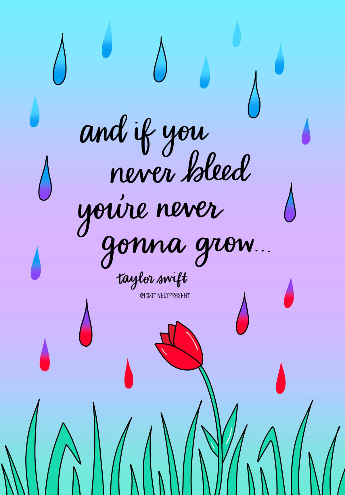 if you never bleed youll never grow taylor swift quote graphic.