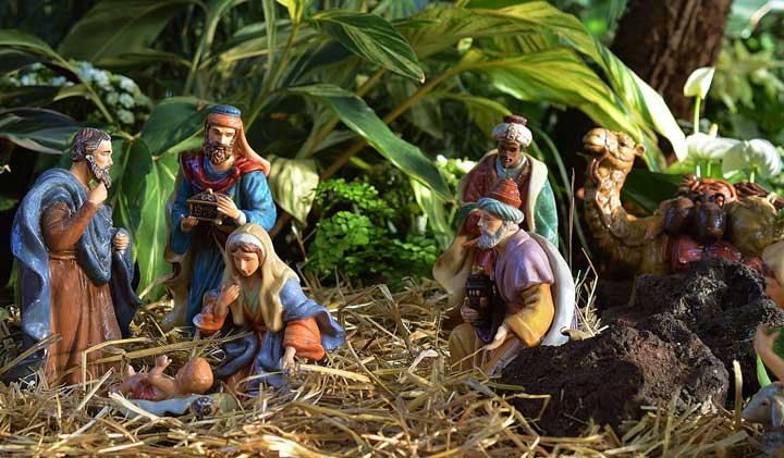 nativity christmas scene with 3 wise men.