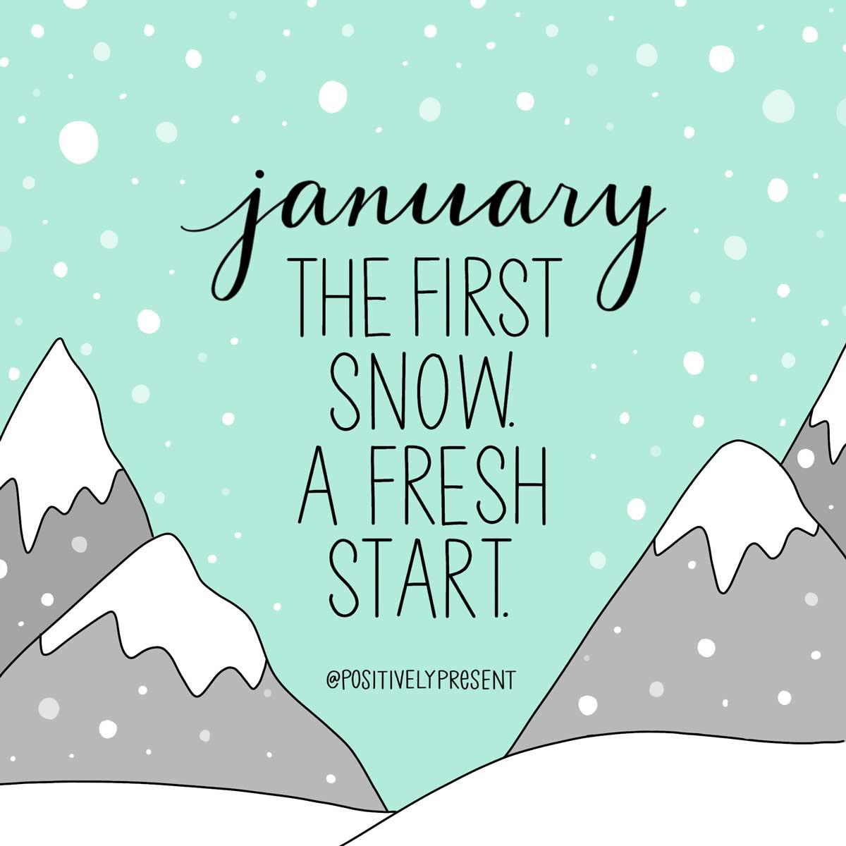 new year fresh start quote on aqua snow scene art.