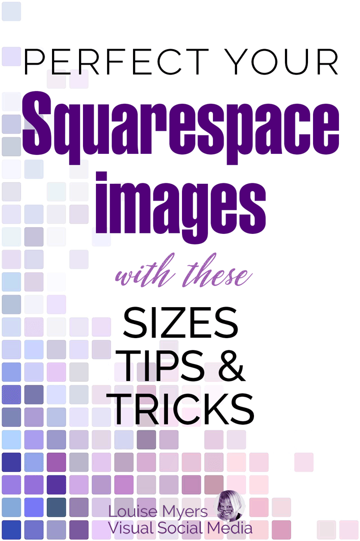 perfect your squarespace images text on pink purple and blue square tiles.