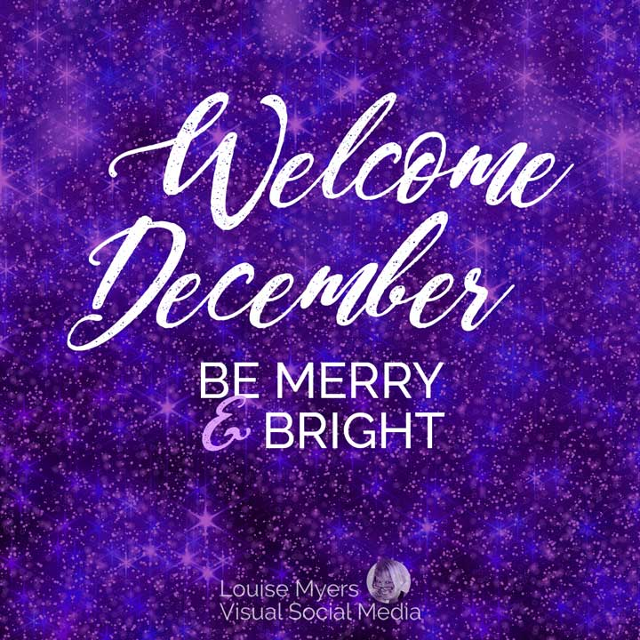 Welcome December! Be merry and bright on purple snowy background.