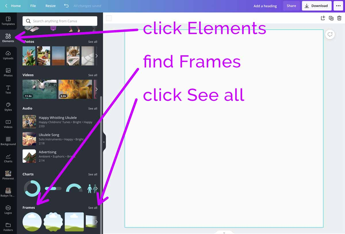 screenshot showing how to see all the frames in canva.