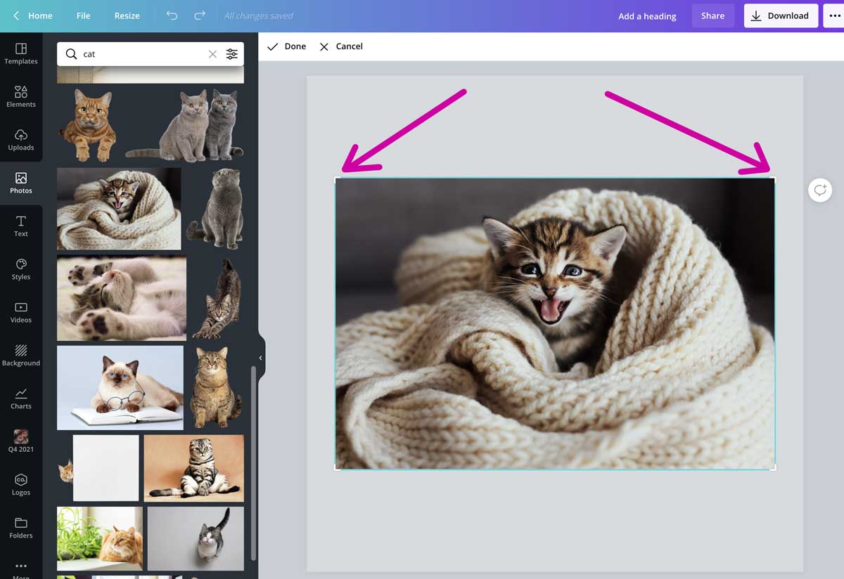 screenshot showing which are the crop corners in canva.