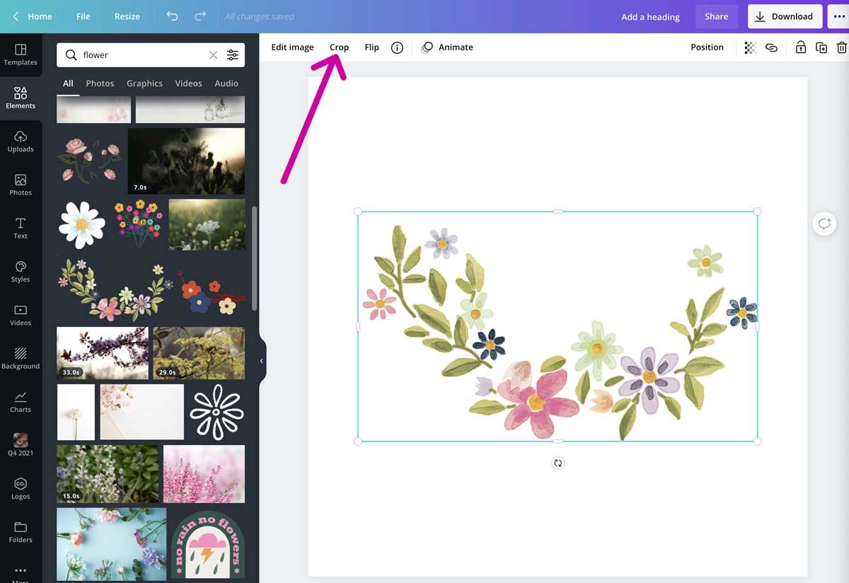 screenshot of graphic element to crop in canva.