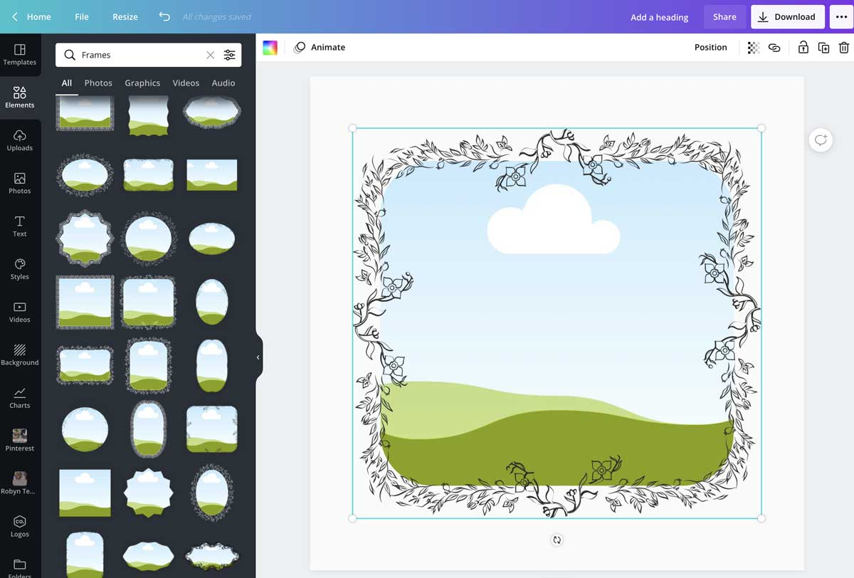 screenshot showing how to add a frame around a photo in canva.