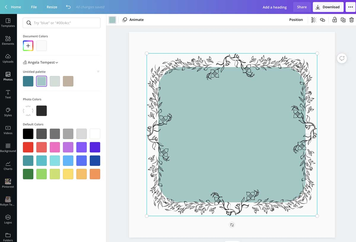screenshot showing how to frame a background color shape in canva.