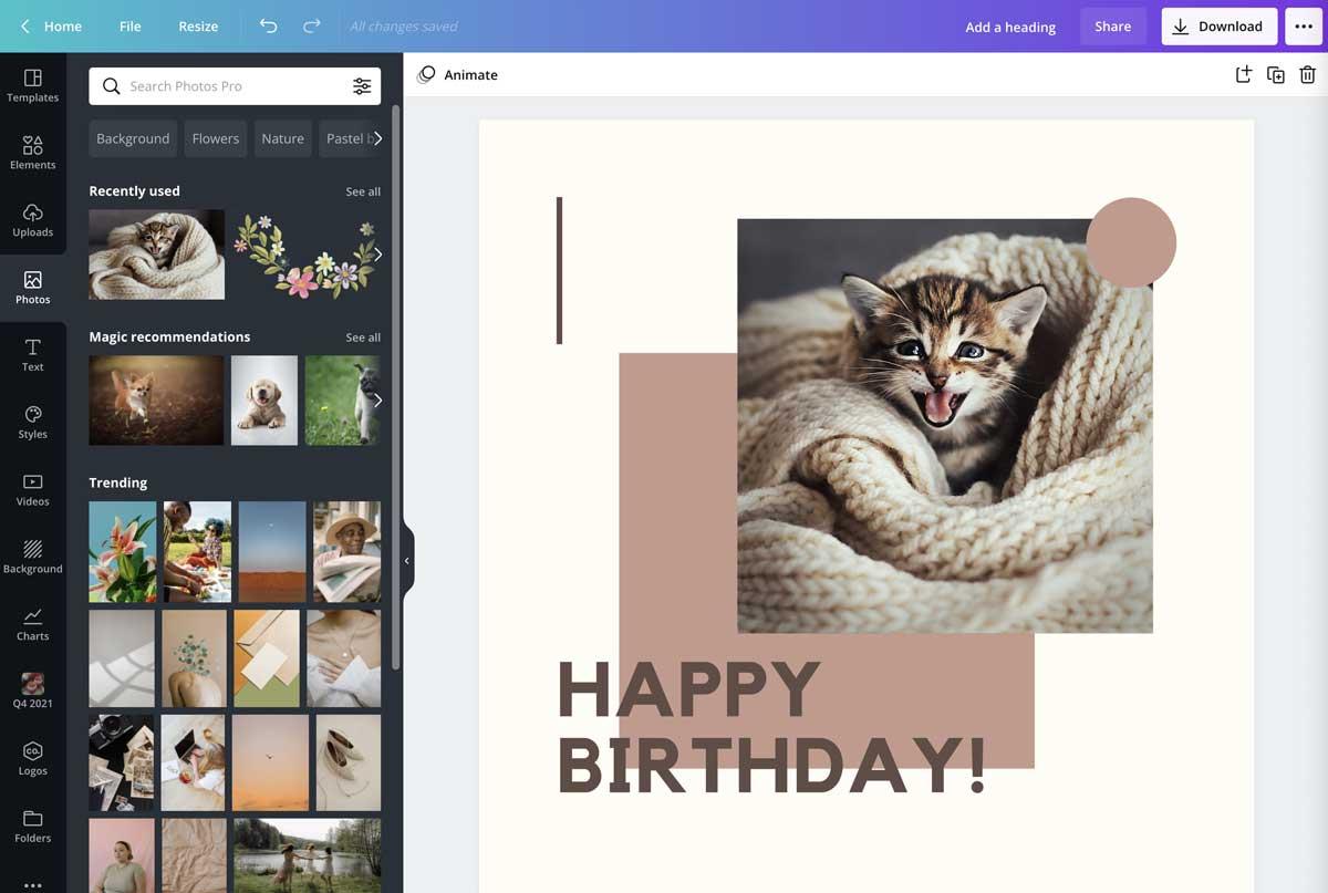 screenshot of birthday template with kitten photo.