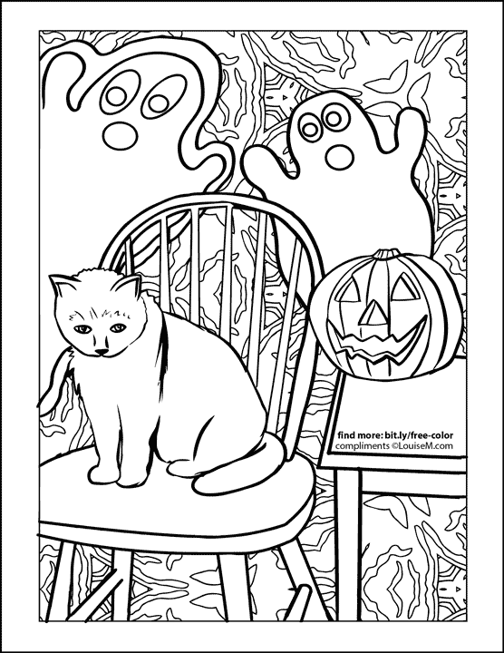 cat on chair with ghosts behind halloween coloring page.