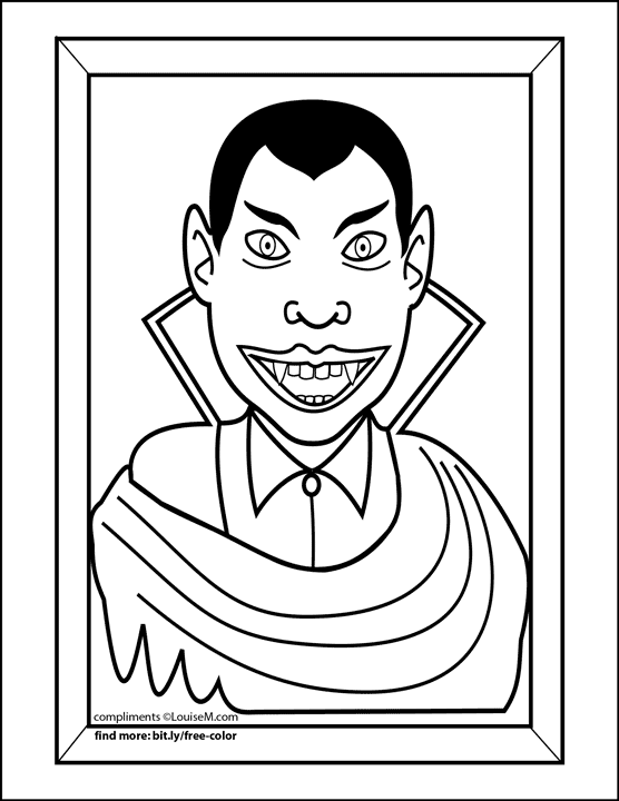 funny vampire in frame halloween coloring page.