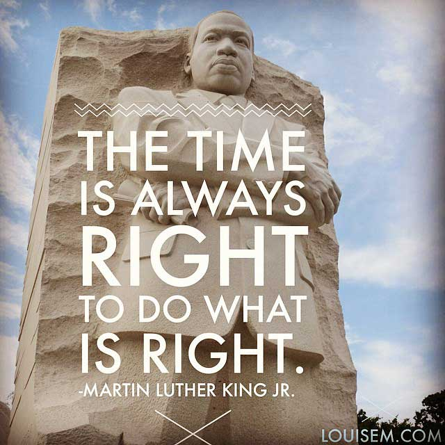 Martin Luther Luther King Jr quote on photo of his statue.