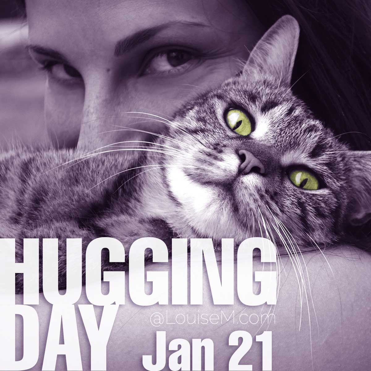Hugging Day text on photo of woman hugging cat.