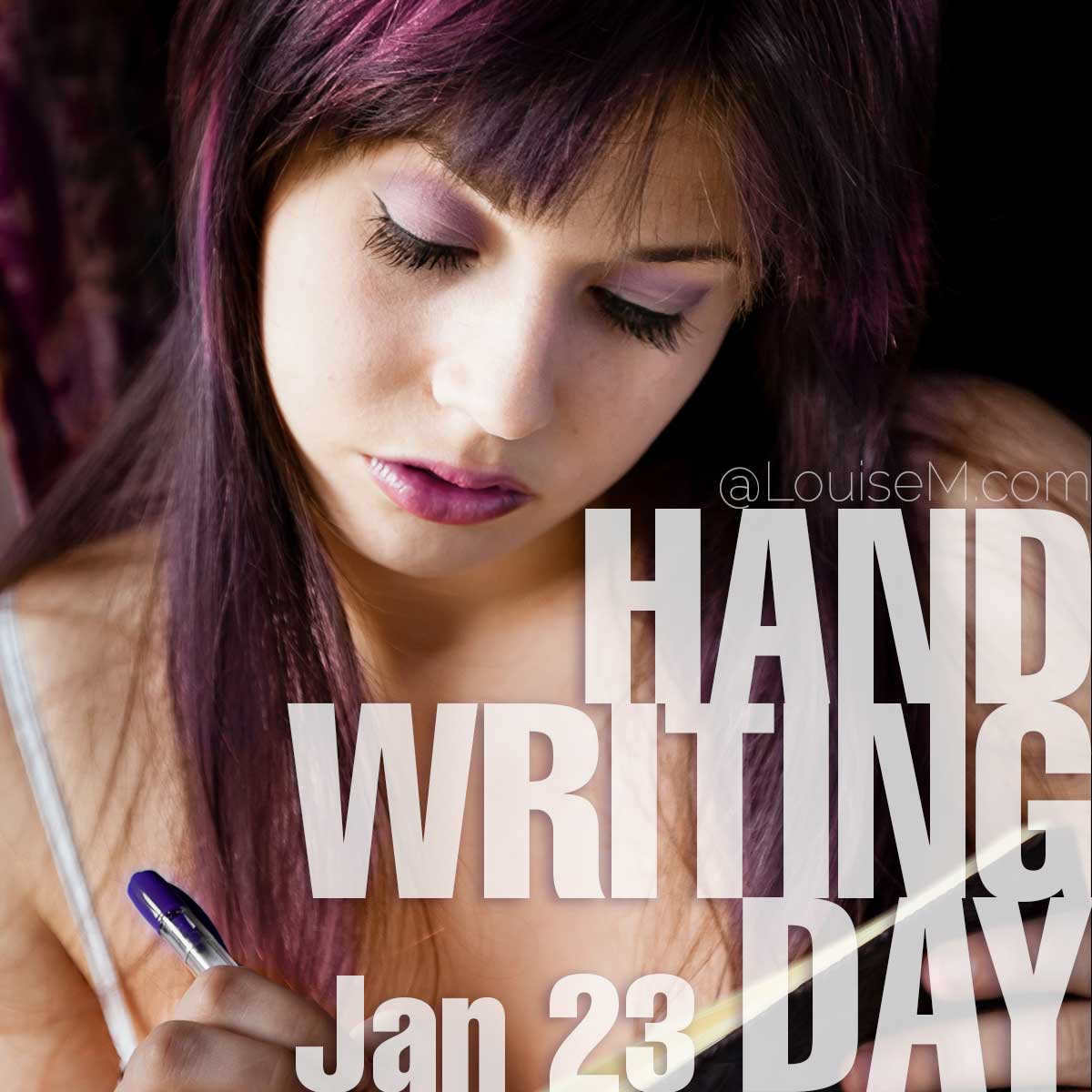 Handwriting Day text on photo of woman writing in journal.