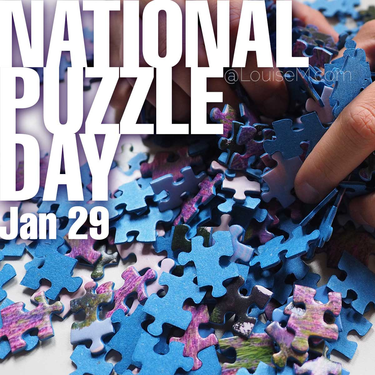 National Puzzle Day text over jigsaw puzzle photo.