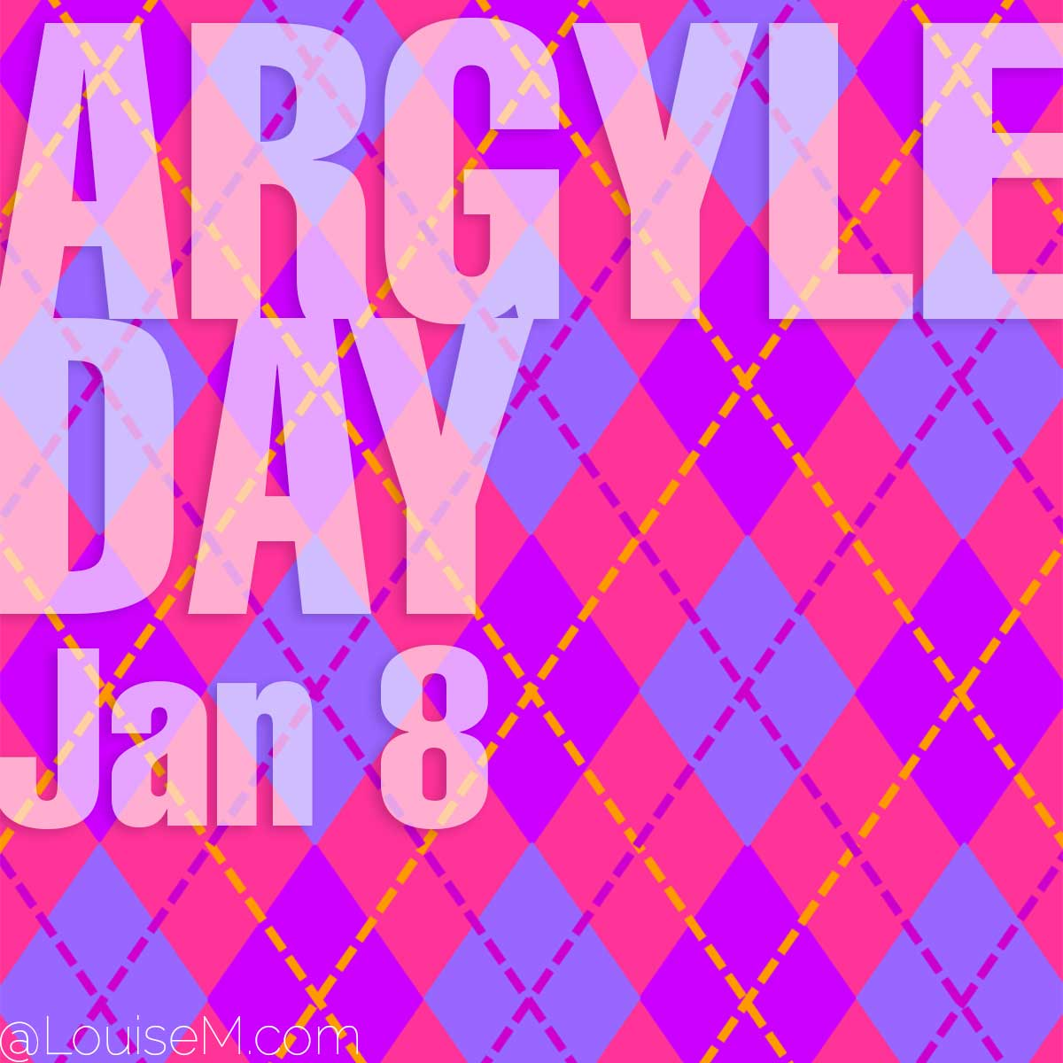 argyle day text on pink purple and blue argyle pattern.