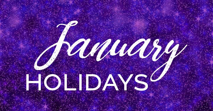 January holidays text on purple sparkly background.