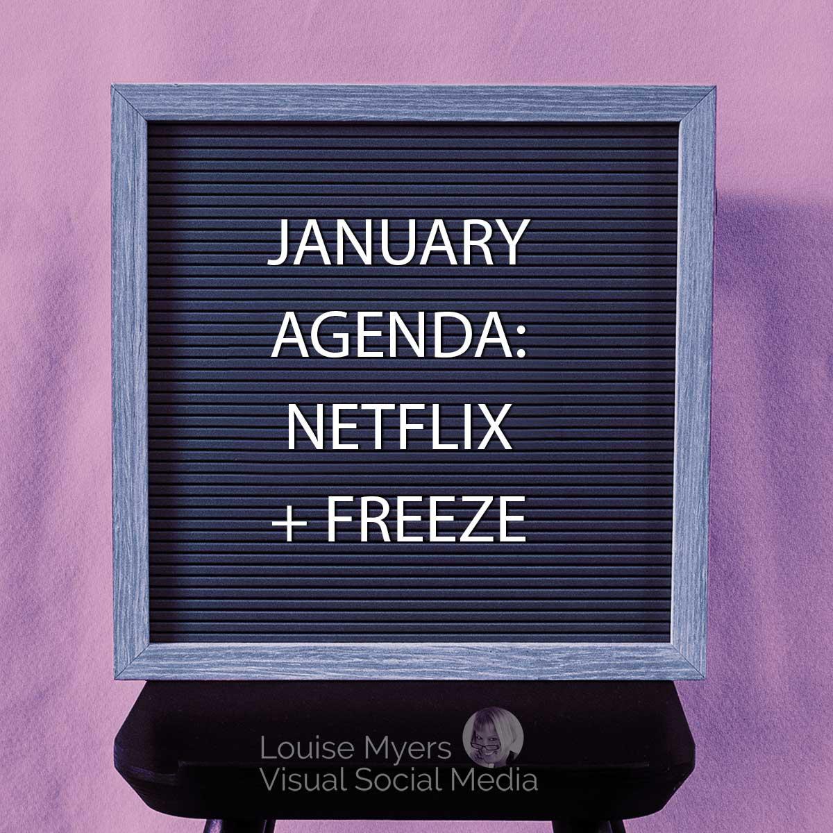January agenda Netflix & freeze letter board quote.