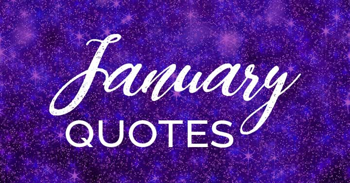 January quotes script on purple sparkly background.