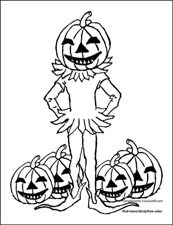 jack-o-lantern head costume halloween coloring page.