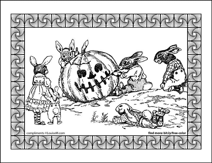 vintage art of rabbits carving jack-o-lantern halloween coloring page.