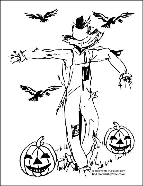 scarecrow with crows and pumpkins halloween coloring page.