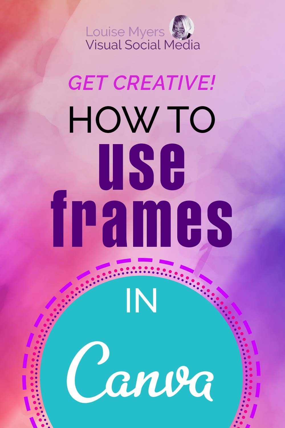 text says get creative how to use frames in canva on purple watercolor background.