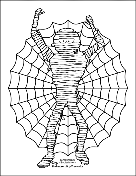 mummy and giant spider web halloween coloring page.