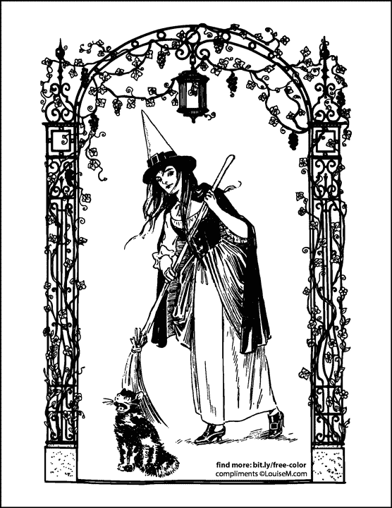 vintage witch and cat in decorative arch halloween coloring page.